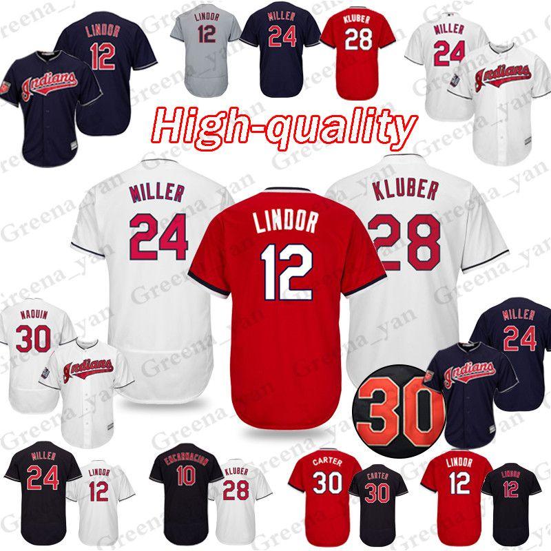d2266a6682a 2019 TOP Cleveland Indians Baseball Jerseys 10 Edwin Encarnacion 30 Joe  Carter Baseball Jersey Adult Shirt High Quality From Greena yan