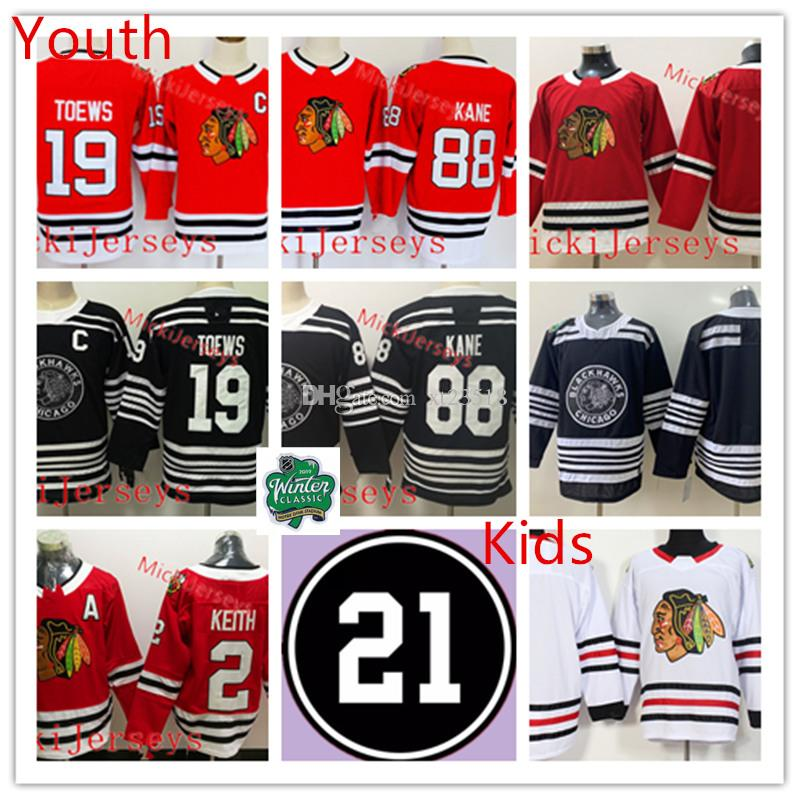 new concept 9166e b546a Youth Chicago Blackhawks Patrick Kane Jersey Kids #2 Duncan Keith #19  Jonathan Toews Chicago Blackhawks Winter Classic Jersey S-3XL