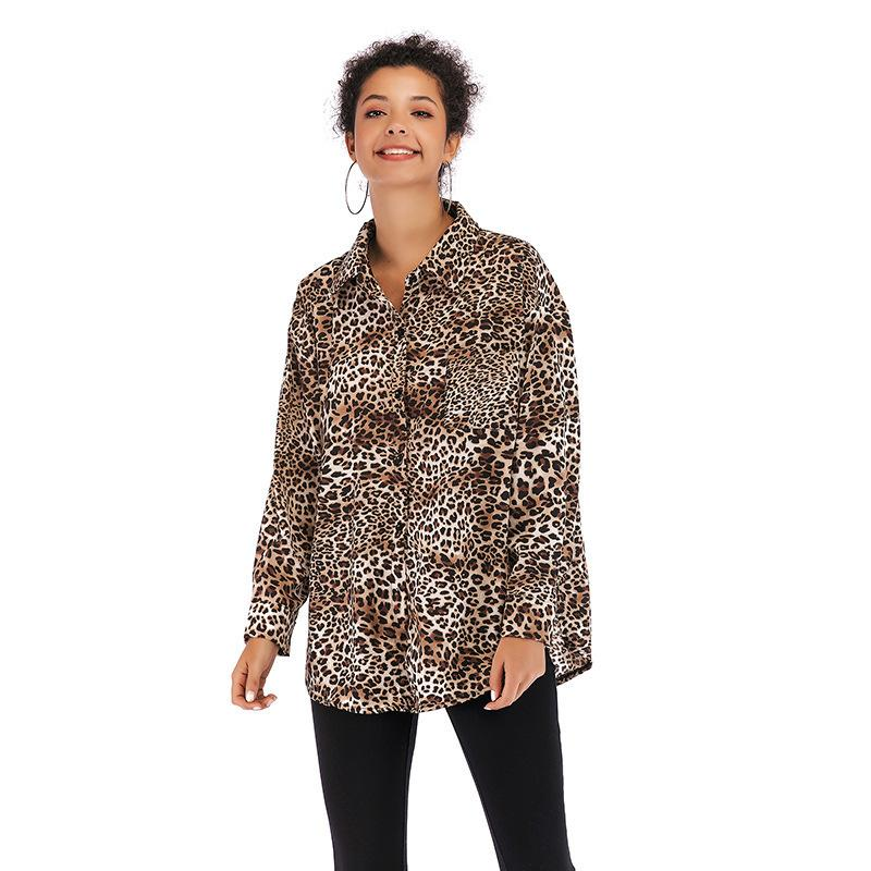Woman Shirt Wholesale Spring New Pattern Suit-dress Single Row Buckle Sexy Leopard Print Fashion Lapel Long Sleeve Jacket Blouse Tank Top