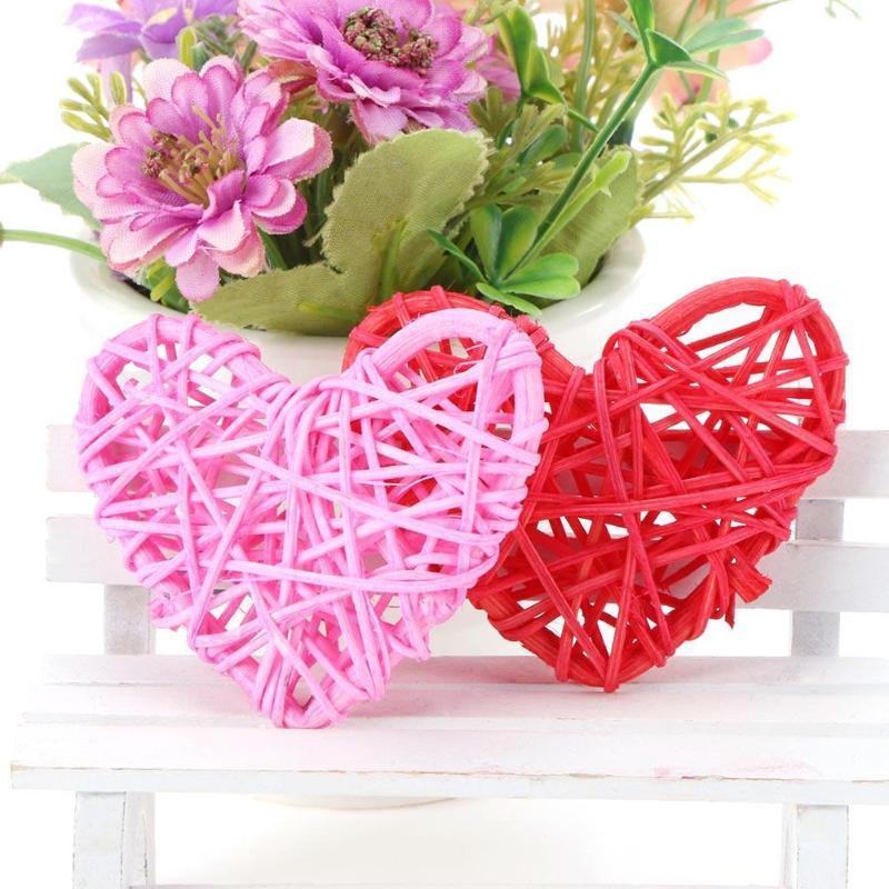 coeur boule de rotin bricolage anniversaire décoration de fête de mariage ornements cadeaux de la Saint Valentin pour garçon fille ami romantique 6cm