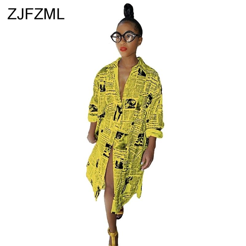 Zjfzml Casual stampato T Shirt Dress Women White manica lunga anteriore Split Party Dress Casual giallo Turn-down Collar Button Dress J190619