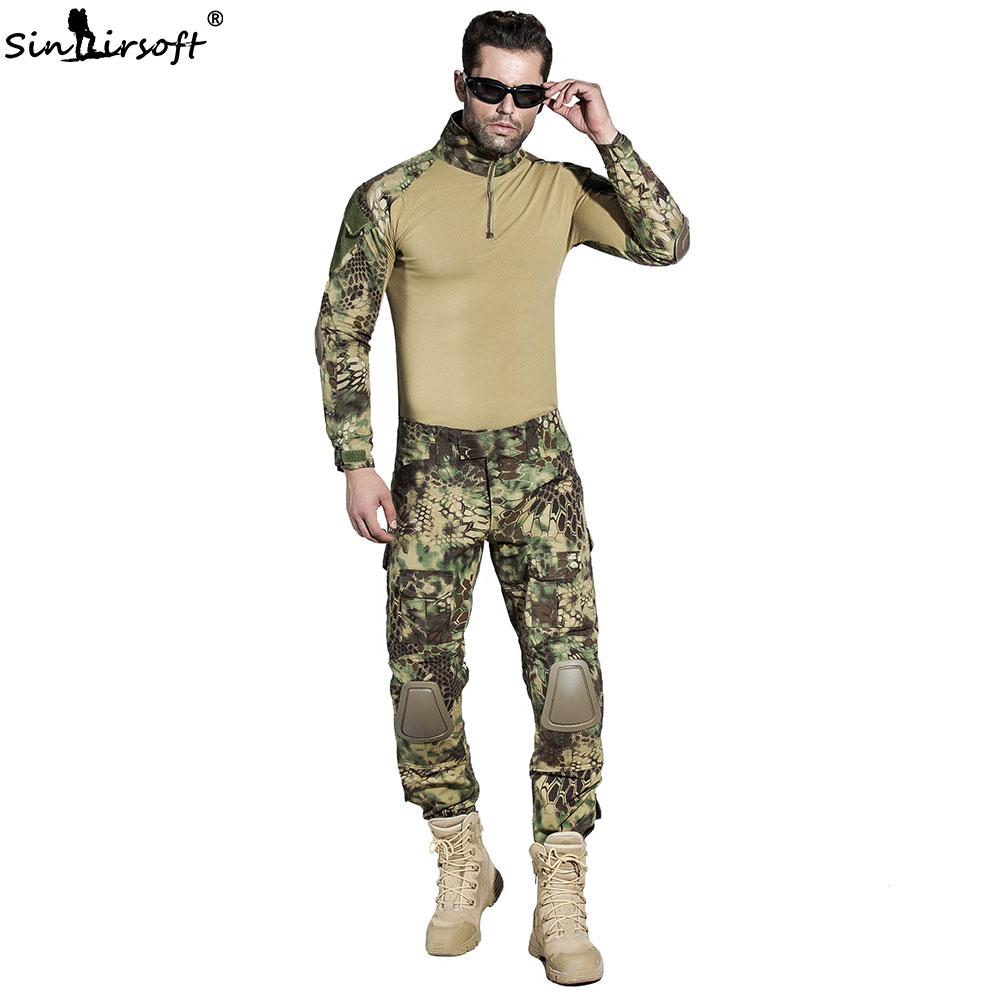 Tactical Suit Army Combat BDU Camouflage Hunting Men Uniform With Knee Pads Elbow Pads Airsof Paintball Shirt Pants