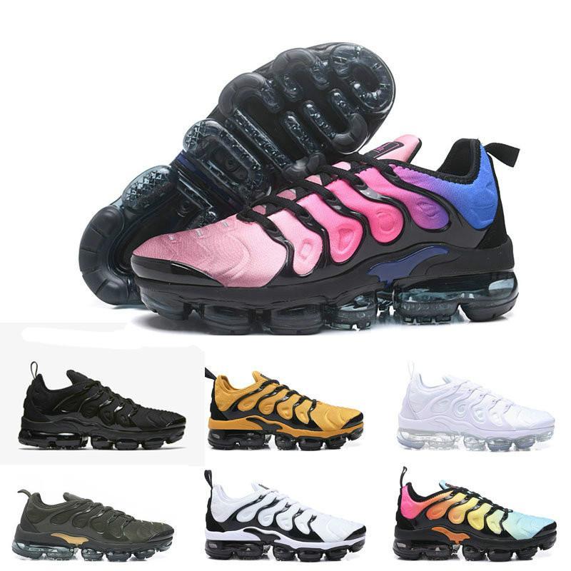 2018 TN PLUs OliVe In Metallic White Silver Colorways SHOes para el paquete de zapatos masculinos casuales Hombres negros triples zapatos
