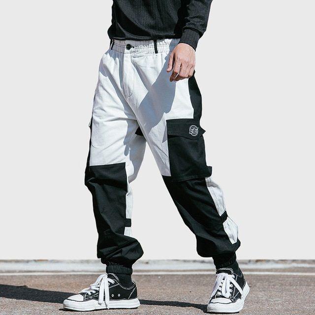 Men Cargo Pant Streetwear 2019 Color Block Hip Hip Harajuku Harem Pant Pockets Japan Style Baggy Pant Joggers Hipster Trousers