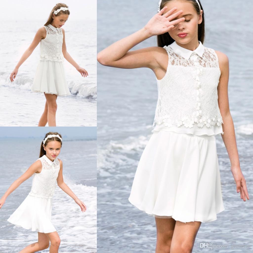 Bohemia Chiffon Flowers Girls Dresses Lace Knee Length Short Teens Wedding  Evening Party Dress Plus Size Beach Princess Dancing Gowns