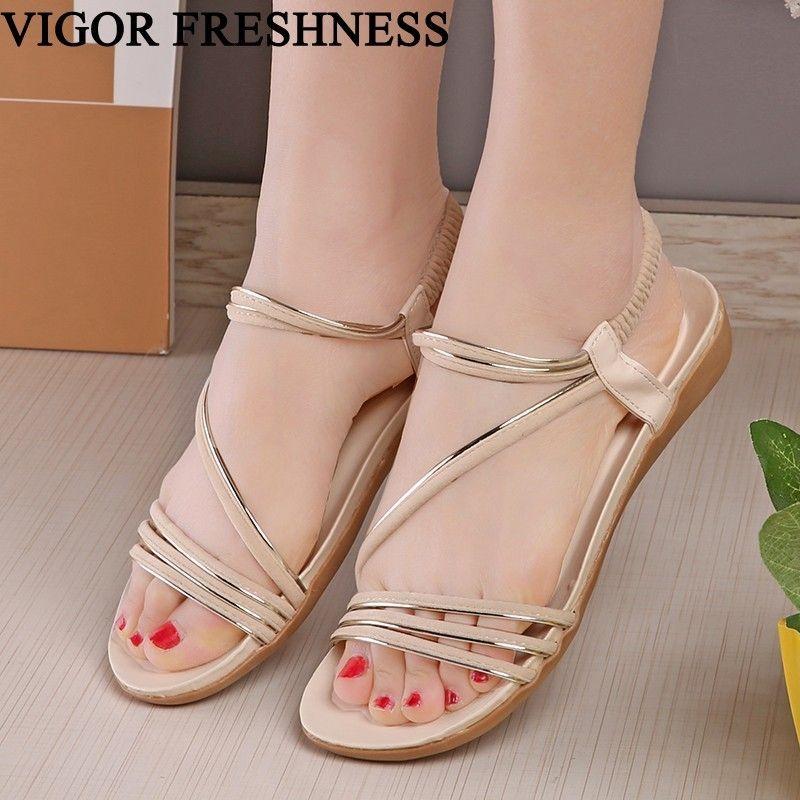 acc09487192ac9 VIGOR FRESHNESS Woman Shoes Summer Sandals Flat Heels Woman S Sandals  Flower Flip Flop Slip On Bohemia Beach Retro WY243 Cheap Shoes For Women  Buy Shoes ...