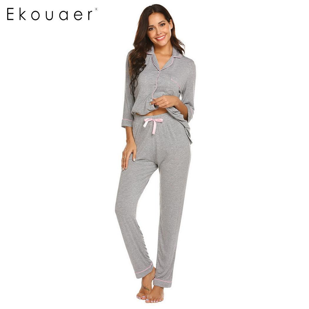 ced4fd78287c Ekouaer Pajama Sets Women Casual Sleepwear Solid Three Quarter Sleeve  Shirts Top Long Pants Pajama Sets Soft Home Wear Suits UK 2019 From  Zijinflo