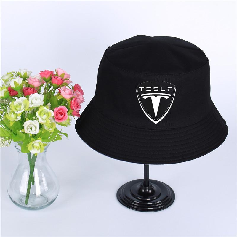 Tesla Summer Hat Women Mens Panama Bucket Hat Tesla Design Flat Sun