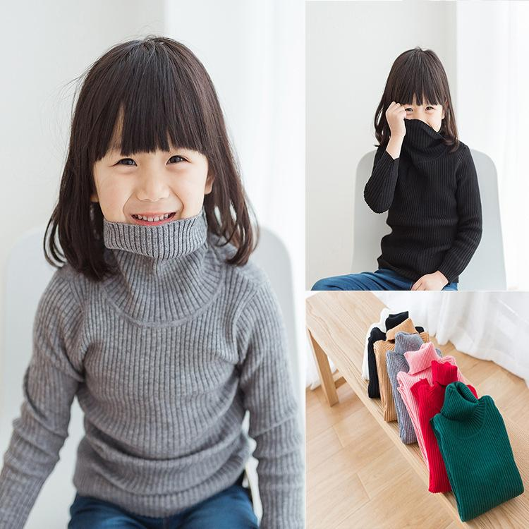 9711500f9ebf Baby Girl Sweater Children Autumn Winter Long Sleeves Turtleneck Sweater  White Black Gray All Matched Baby Boys Cute Pullover Free Knitting Patterns  For ...