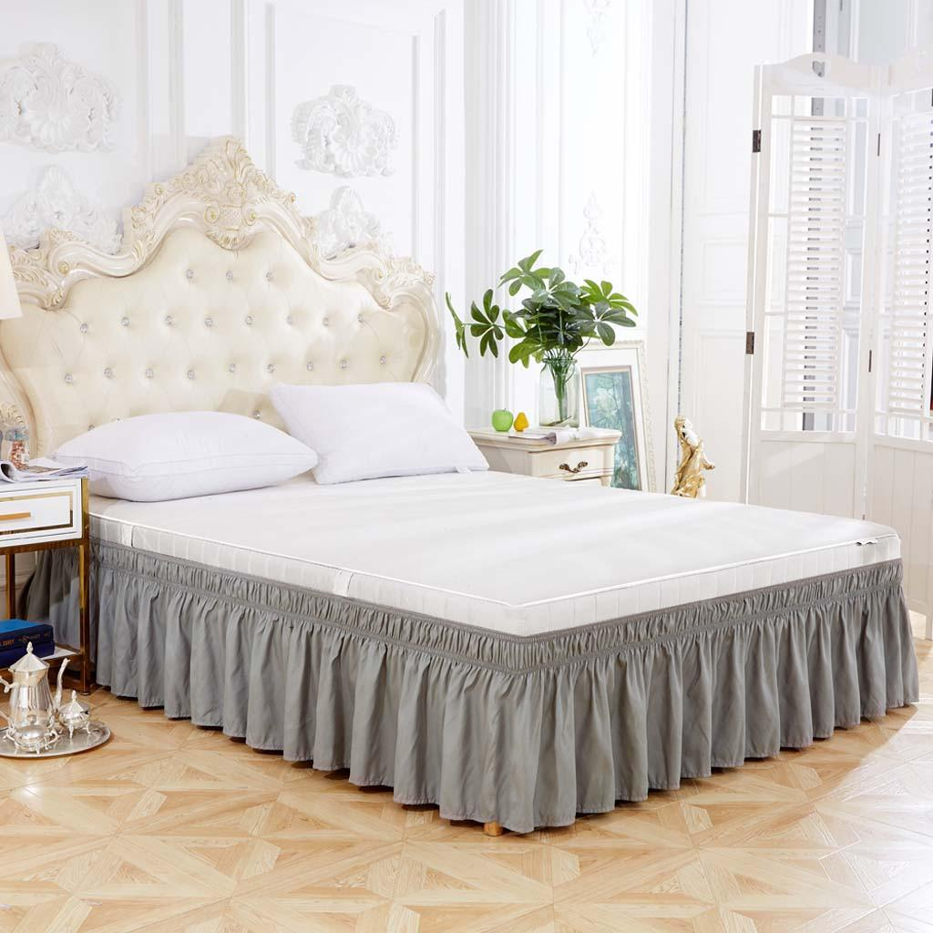 1PC moderna Elastico grigio polvere Ruffle Split Corners Bed Gonna Bedding casa Decorazione Camera Solid Gonna pieghettato elegante Bed