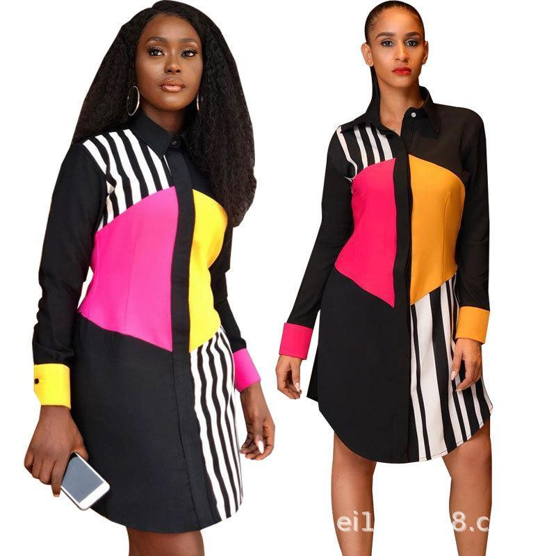 Women Single Breasted Shirt Dress Spring Patchwork Striped Long Sleeved Autumn Casual Loose Dresses
