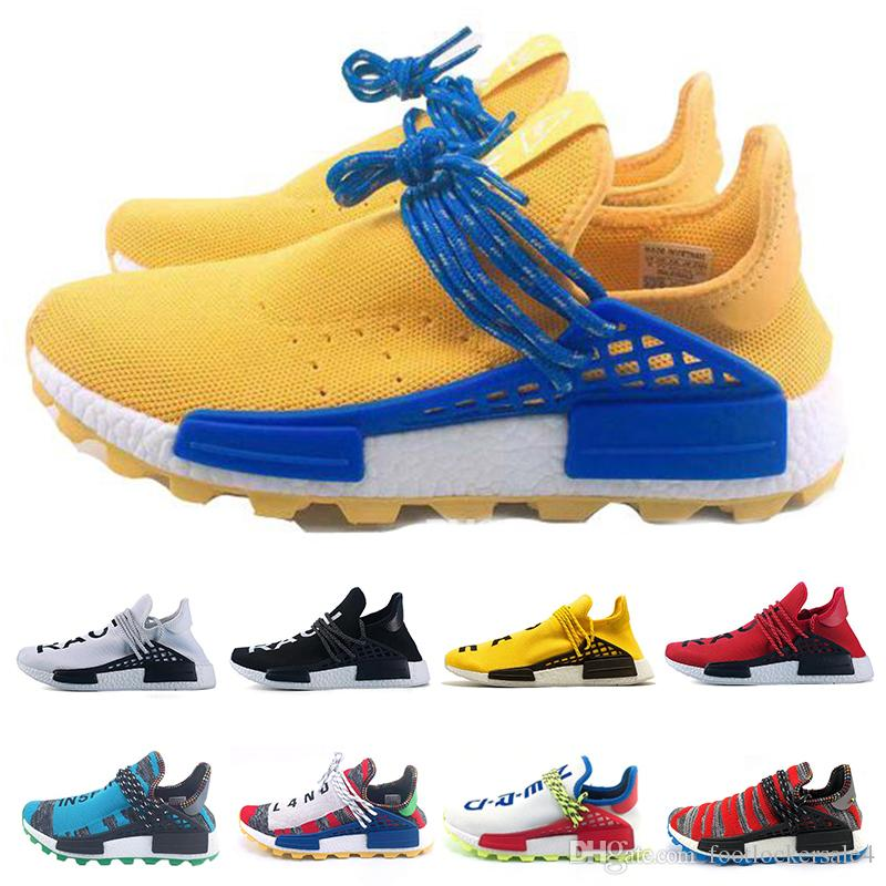 2ce05912eefa1 2019 2019 Human Race HU X Running Shoes For Men Women Pharrell Williams  Designer Triple Yellow Sample Core Black White Sports Sneakers 36 47 From  ...