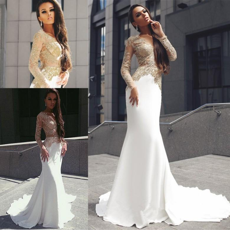 20fcced96f2 Champagne Gold Appliques Long Sleevess Prom Dresses 2019 Mermaid Sexy Sheer  Jewel Neck Long Train Evening Gowns Formal Holiday Dresses Women Formal  Dresses ...