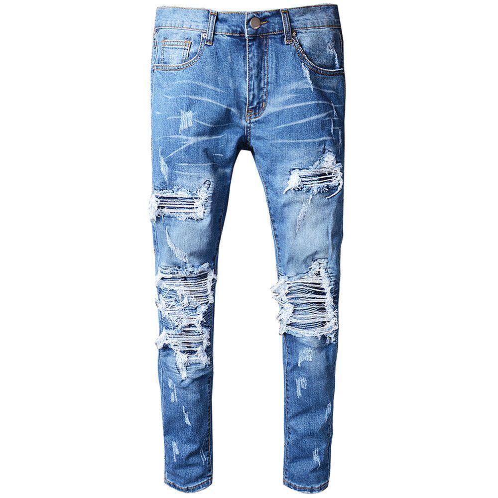 06cdcf8924 Compre Pantalones Vaqueros Moteados De Hombre Con Remiendo Plisado Azul  Para Motocicleta Pantalones De Mezclilla Desgastados Ajustados Y Delgados  Pitillo ...