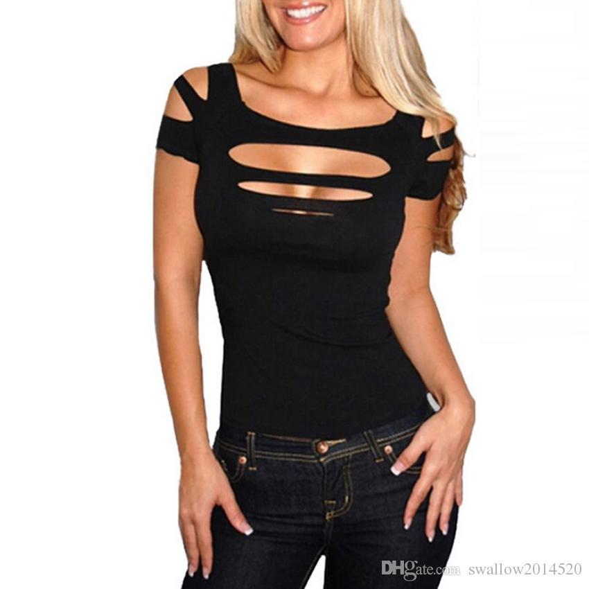 a6bdc56d8d4468 Acquista Moda Off Spalla Casual T Shirt Donna Sexy Estate Manica ...