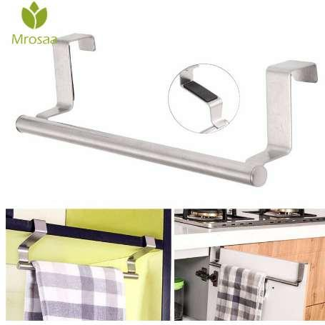 Mrosaa 23cm Towel Bar Bathroom Kitchen Towel Rack Single Layer Over Door Cupboard Hanger Hotel Bath Stainless Steel Towel Holder