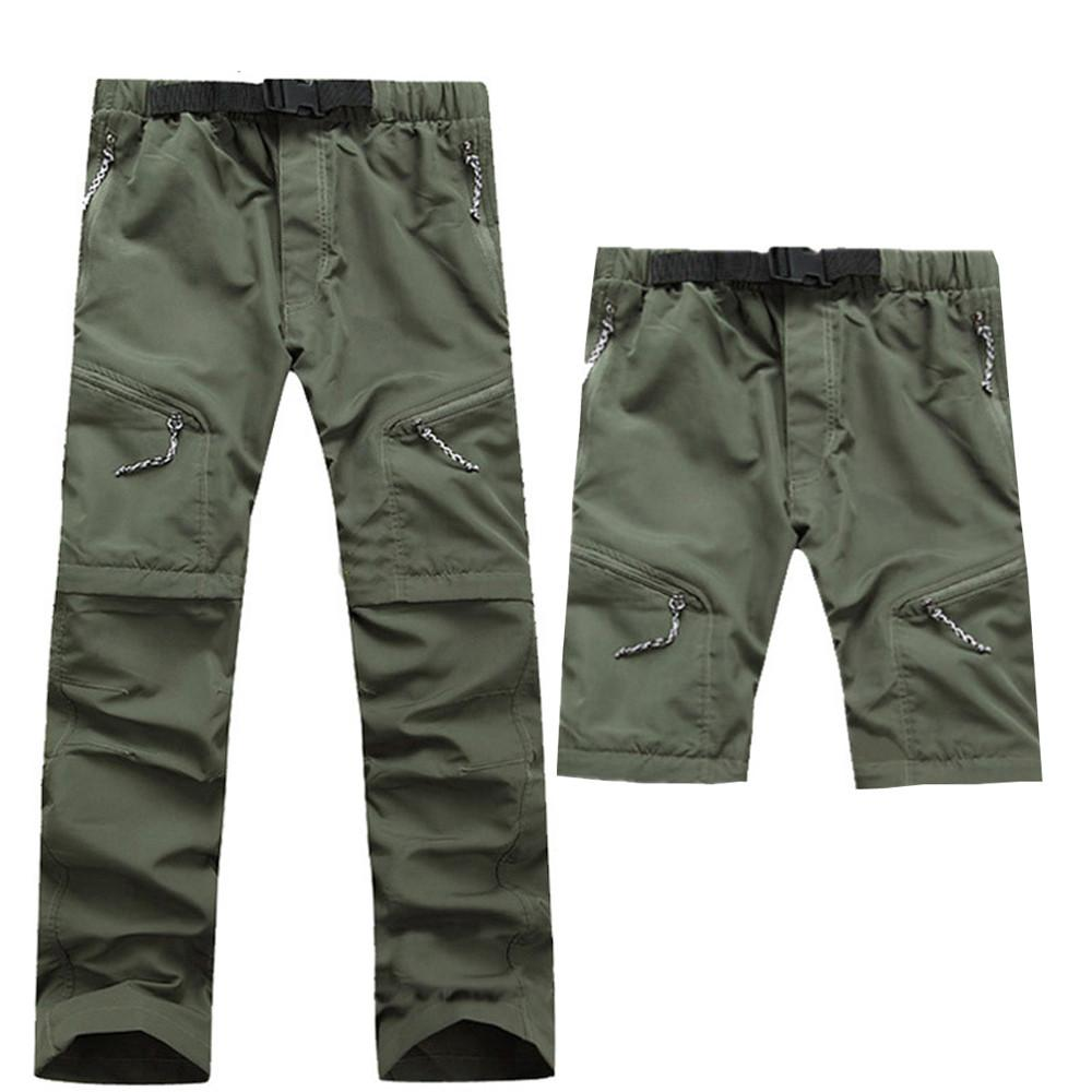 Summer Men's Quick Dry Removable Hiking Pants Outdoor Sport Breathable Trousers Camping Trekking Fishing Length Pants 2019 New