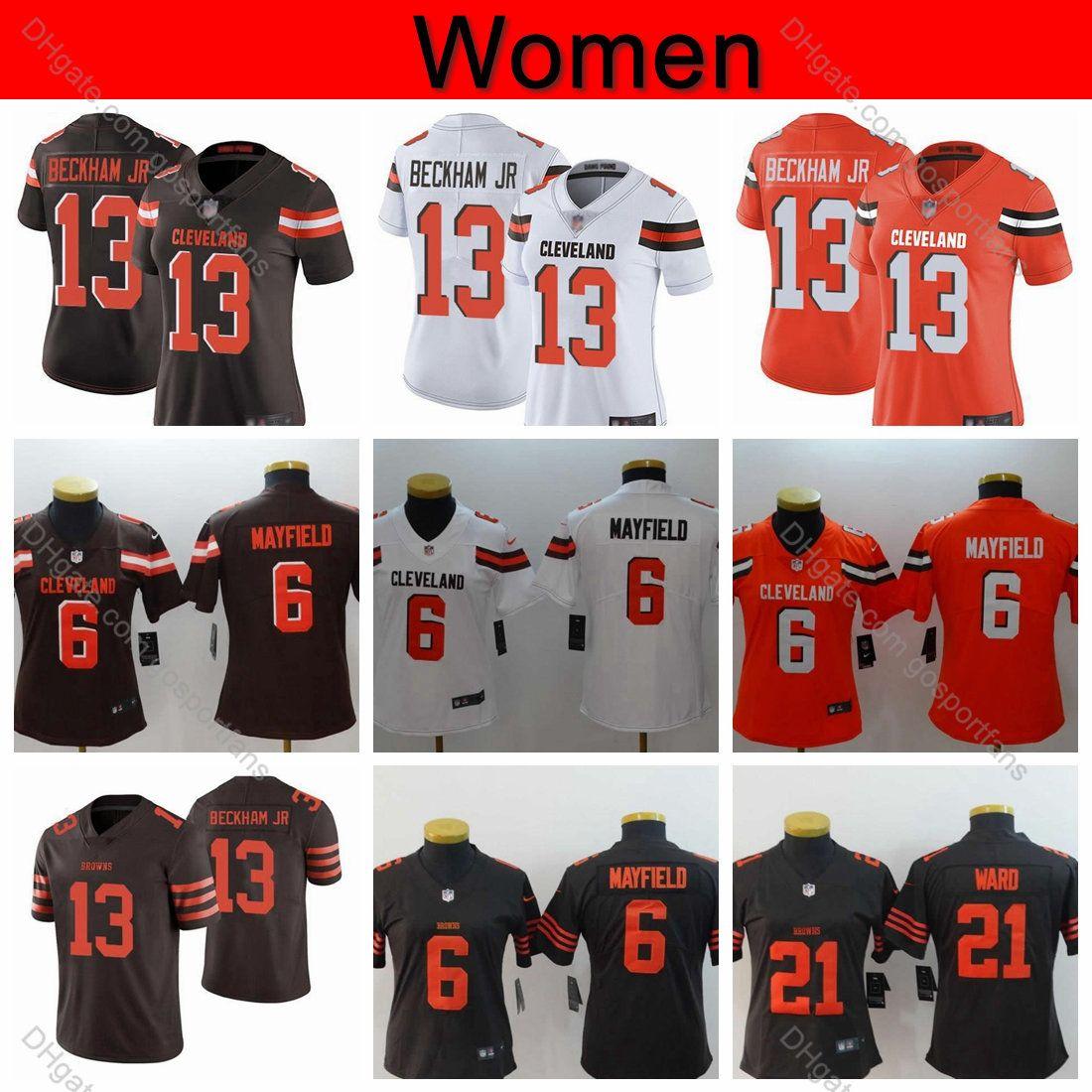 newest 0109a 0ef11 Womens Browns 13 Odell Beckham Jr. Jersey 6 Baker Mayfield Jerseys 21  Denzel Ward Cleveland Ladies Football Jerseys Girls Stitched S-XXL