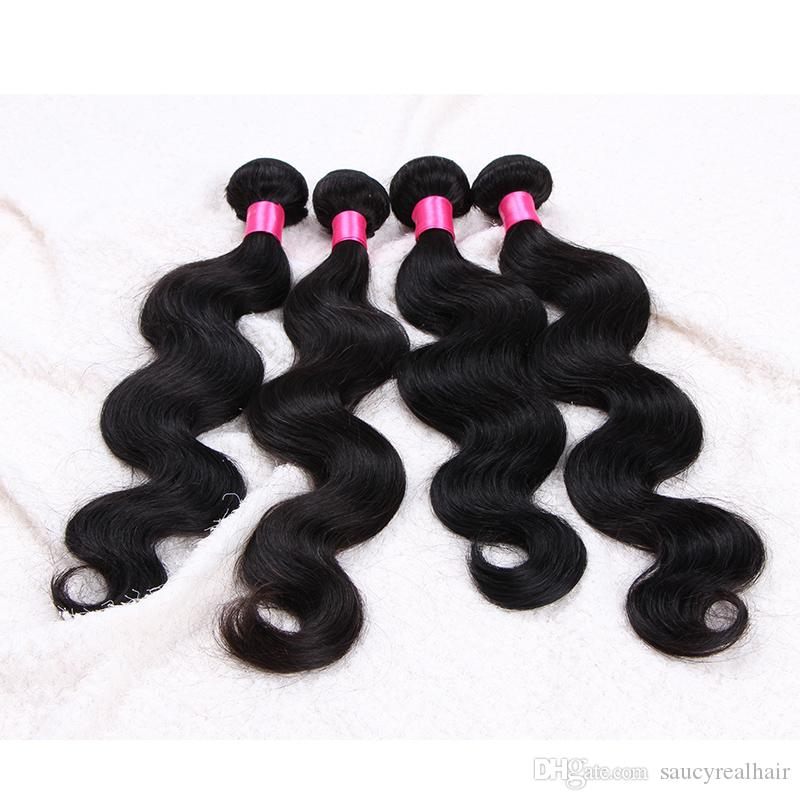 Elibess Brand Indian Hair Extensions Dyeable Natural Brazilian Peruvian Malaysia Virgin Hair Bundles Body Wave Human Hair Weave 3 or 4 pcs