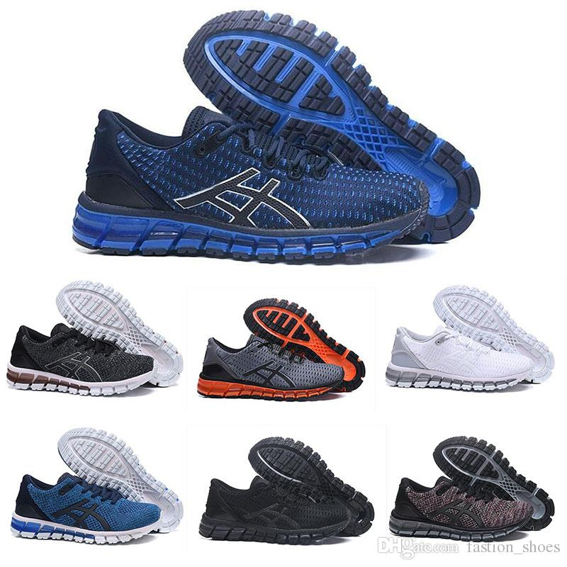sneakers for cheap 33d59 dfca1 ASIC running shoes gel quantum 360 buffer knit mens shoes Weaves Vamp black  white red blue Sports athletic shoes women trainers sneakers