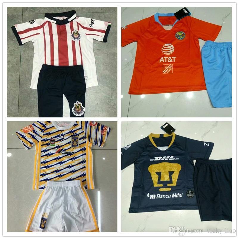Kids Third Orange Club America UNAM Soccer Jersey 19 Home Away Shirt ... 7aa1f6465