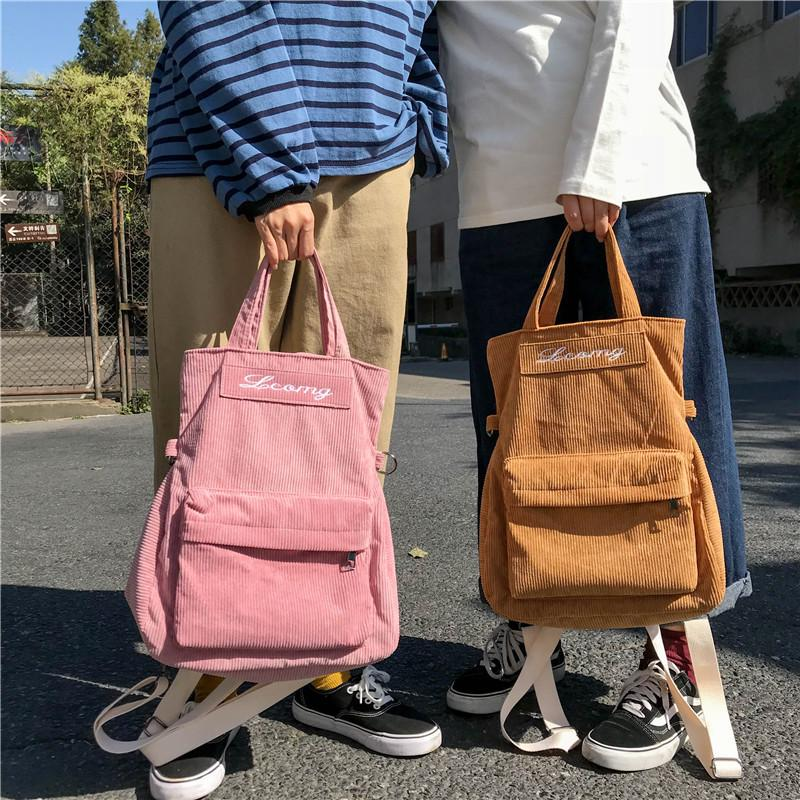 Corduroy Eco Tote Travel Backpack Student Book Bag School Bag CYD12765  Backpacks Cheap Backpacks Corduroy Eco Tote Travel Backpack Online with   38.36 Piece ... 3ea668d101c79