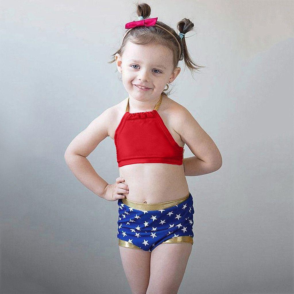 4133e810c9 2019 Children Kids Girls Bikini Beach Swimwear Swimsuit Infant Kids Baby Girls  Swimwear Star Straps Swimsuit Bathing Bikini Set Beach From Dejavui