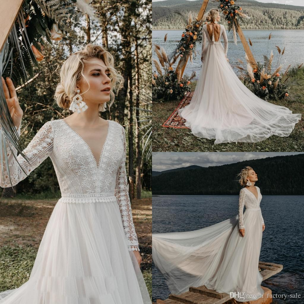 2020 Beach Long Sleeve A Line Wedding Dresses Backless V Neck Lace Bridal Gown Robe de Mariee