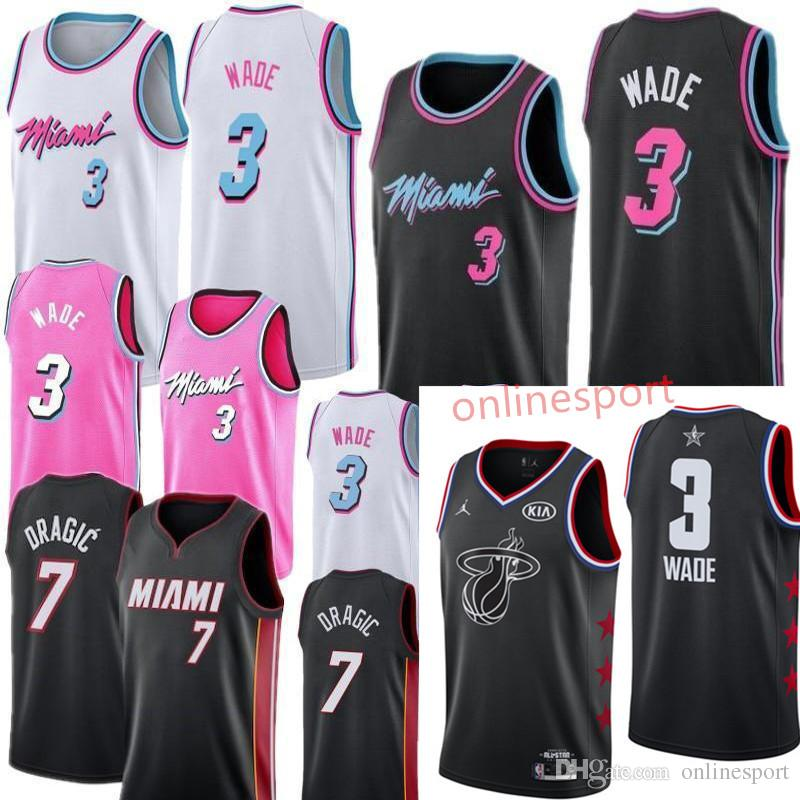 official photos 64412 c5754 2019 Miami newest dwayne jersey 100% stitched Heat 3 Wade Embroidered Logo  black white pink shorts mens Jersey