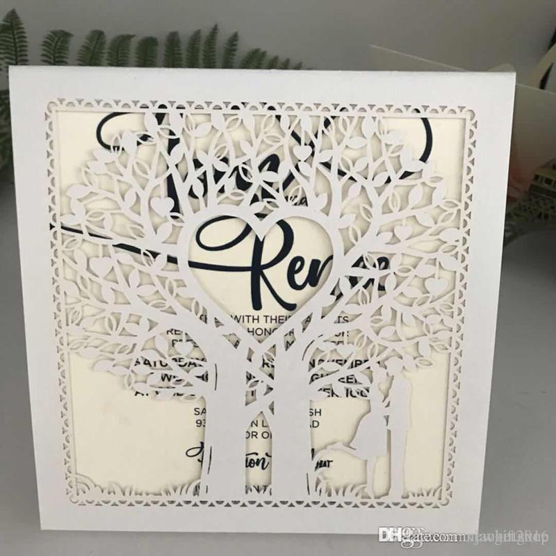 Shimmy White Laser Cut Love Tree Wedding Invitation Card Kit 2019