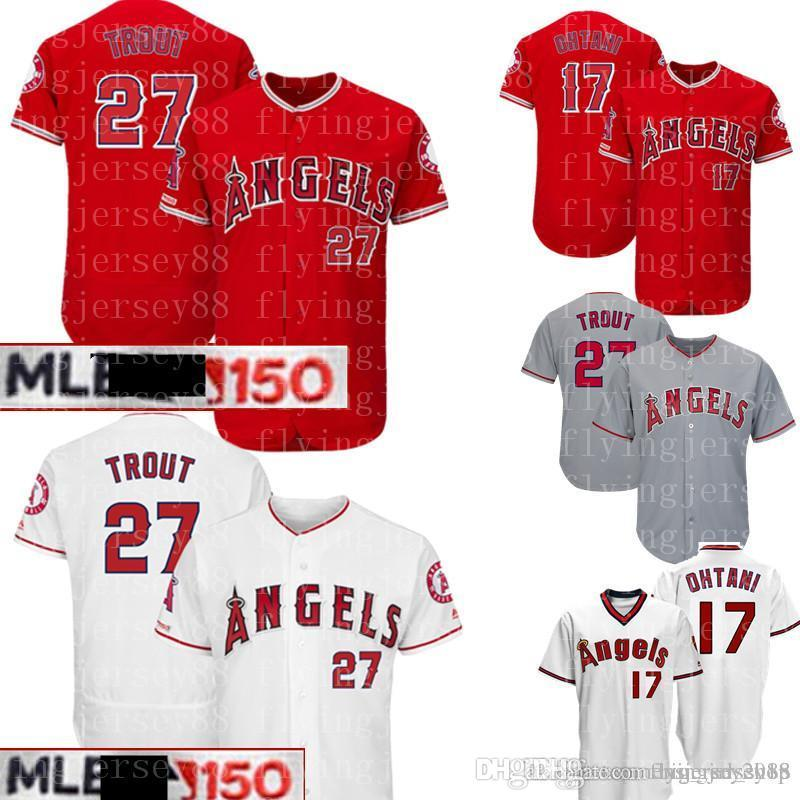 7ac0596fb 2019 27 Mike Trout Los Angeles Angels Jersey 150th 17 Shohei Ohtani  Majestic Scarlet Alternate Flex Base CoolBase Authentic Collection Jerseys  From ...