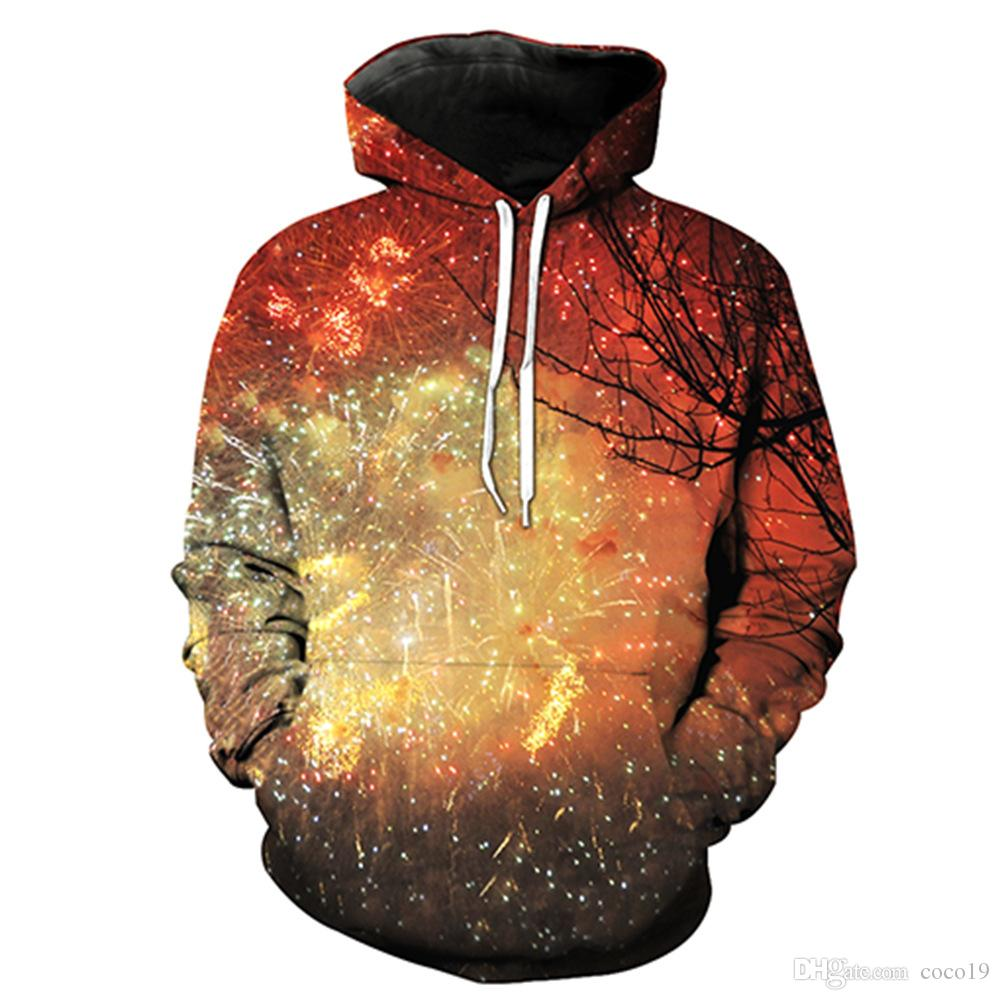 31af6bd30676 2019 Design 3D Print Galaxy Space Fireworks Star Hoodies Long Sleeve  Men Women Pullover Sweatshirts Casual Hip Hop Tops Clothing Plus Size From  Coco19
