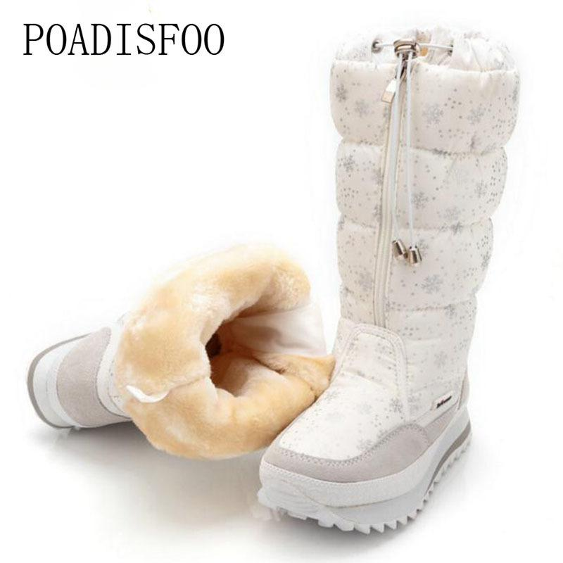 Shoes POADISFOO 35-43 Women Boots Plush Warm Snow Boots Ladies Winter mid-calf Boots Waterproof Snow Botas zipper warm boot JSH-M0767