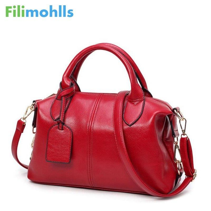 Fashion Solid Women Pillow Handbag Soft Pu Leather Boston Women Top-handle Bag Tote Messenger Shoulder Bag Large Capacity S1184 Y19061803