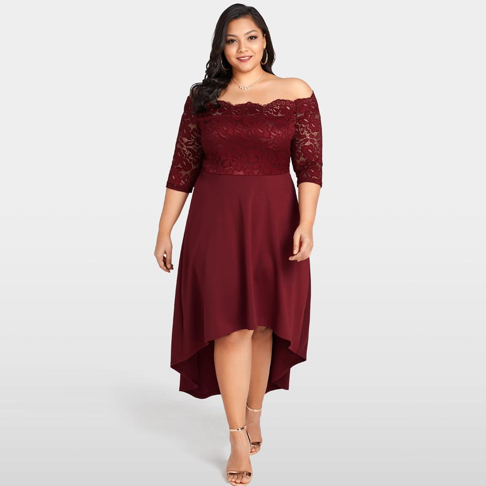 Women Off Shoulder Lace Dress Plus Size Lace Scalloped Party Dresses  Nightclub Vestidos Festa Burgundy Summer Asymmetrical Dress