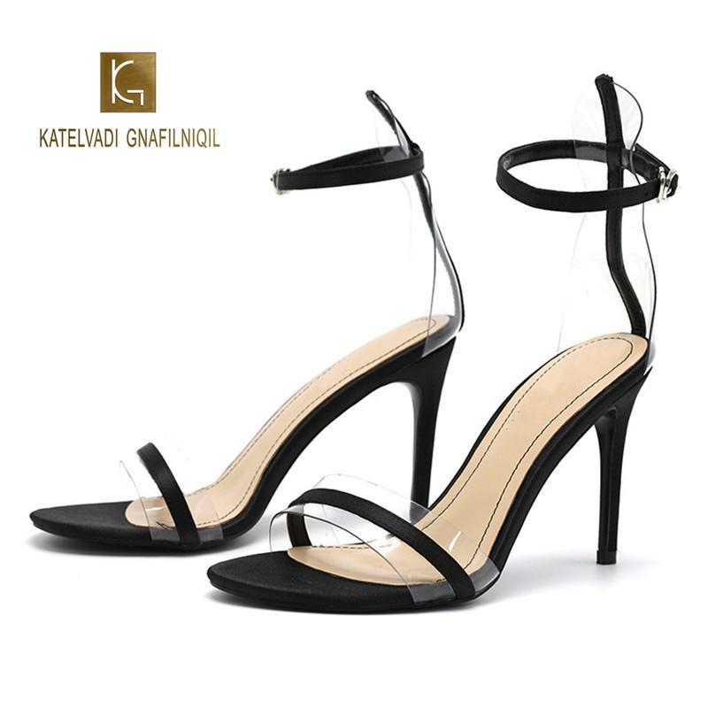 Alto Zapatos Y 279 Oficina Bomba Sandalias K 9 Con Carrera Correa Verano De Negra Cm Pvc Mujer Tacón lF1cJuTK3