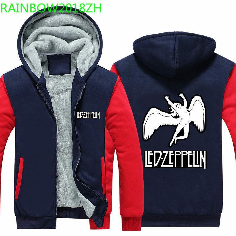 06cfe0159 2019 latest Led Zeppelin thick men s hoodie wool warm Sweatshirt zipper  jacket Couple casual wear American Size 5XL