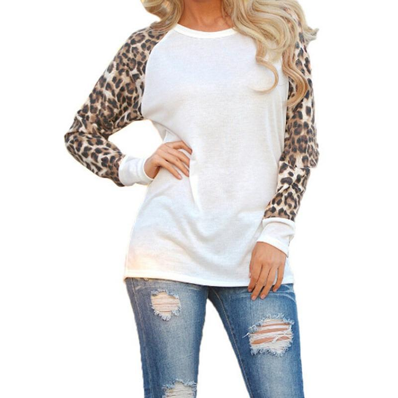 Women Fall Long Sleeve O Neck T-shirt Leopard Sleeve Loose Casual Tees Women's Fashion Tops Plus Size White/Black/Gray