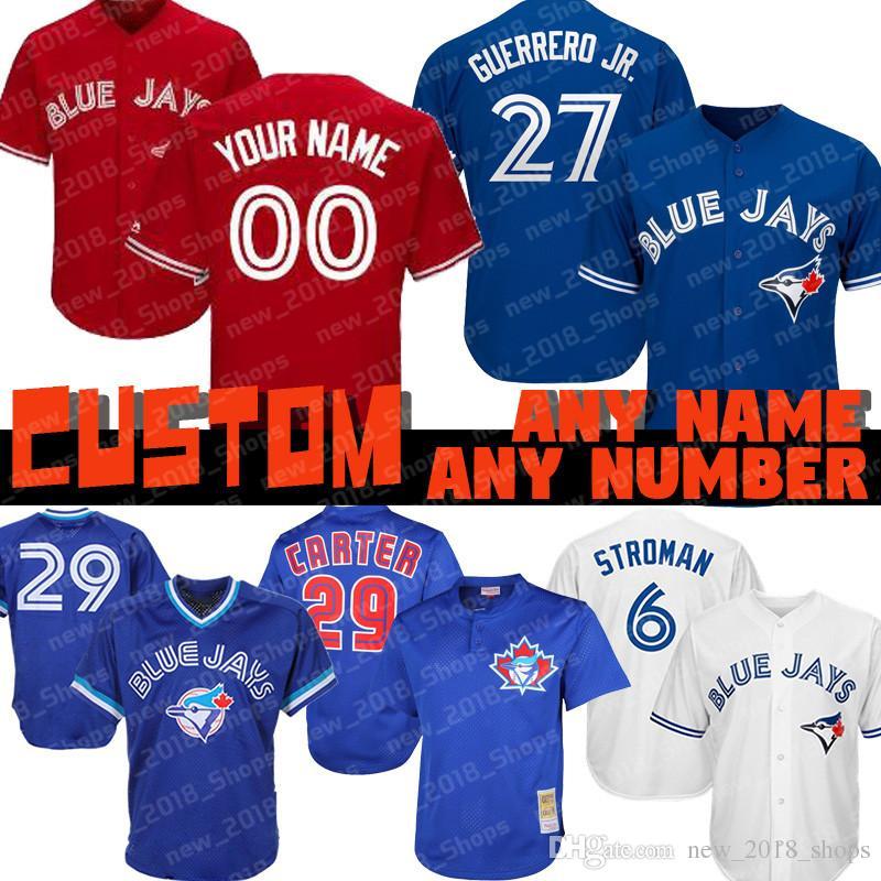 4c7eb3490 2019 Custom 27 Vladimir Guerrero Jr Blue Jays Jersey Toronto 29 Joe Carter  12 Roberto Alomar 6 Marcus Stroman 15 Randal Grichuk 20 Josh Donaldson From  ...