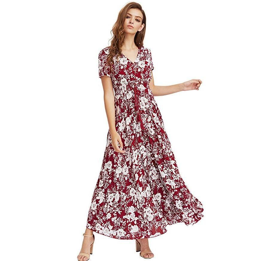 72ea7838217 Ladies Dresses Summer Dress Women Maxi Sundress Button Up Split Floral  Print Flowy Evening Party Female Long Dresses Vestidos Y190425 Long Sleeve  Casual ...