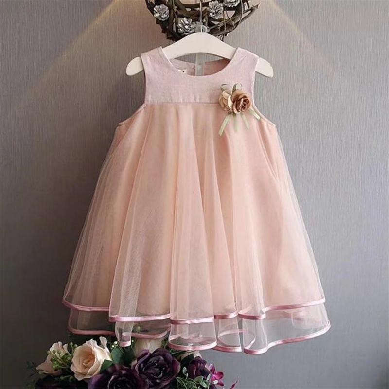 d702aca5ff992 Acheter Bébé Fille Robe D été Bébés Floral Casual Dentelle Princesse  Vêtements D été Sans Manches Enfants Beaux Vêtements Robe De Bal Robes De   38.77 Du ...