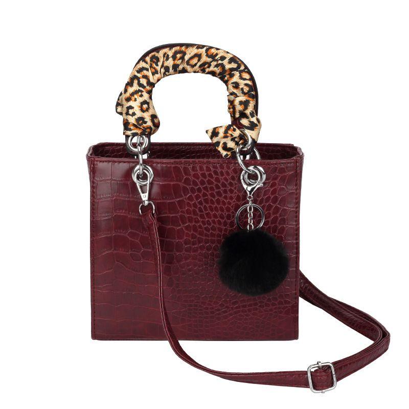 fecdad433d62 Fur Ball Crocodile Stone Pattern Women Handbag Female 2019 New Silk ...
