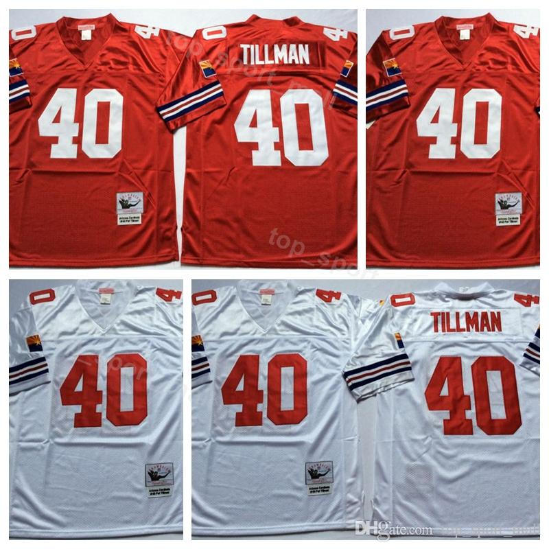 brand new e498a e9534 Men 40 Pat Tillman Jersey Vintage Red White Team Color Tillman Football  Jerseys American Breathable Sport Top Quality On Sale