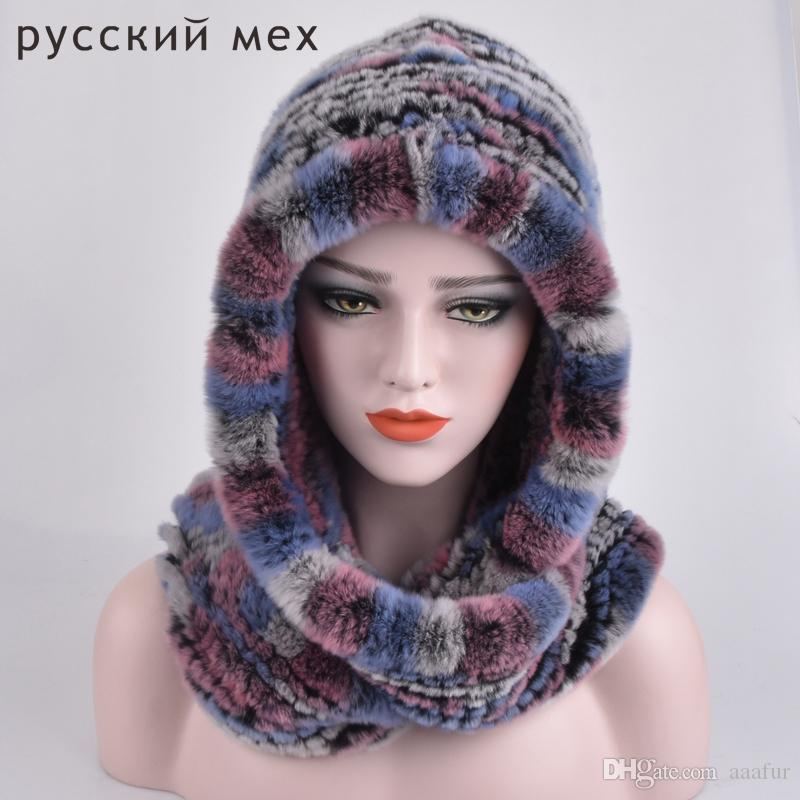 Real Fur Hat Beanie Rex Rabbit Fur Scarves Female Dual-Use Winter Caps Russisn Natural Genuine Fur Beanie Hats Scarf for Women