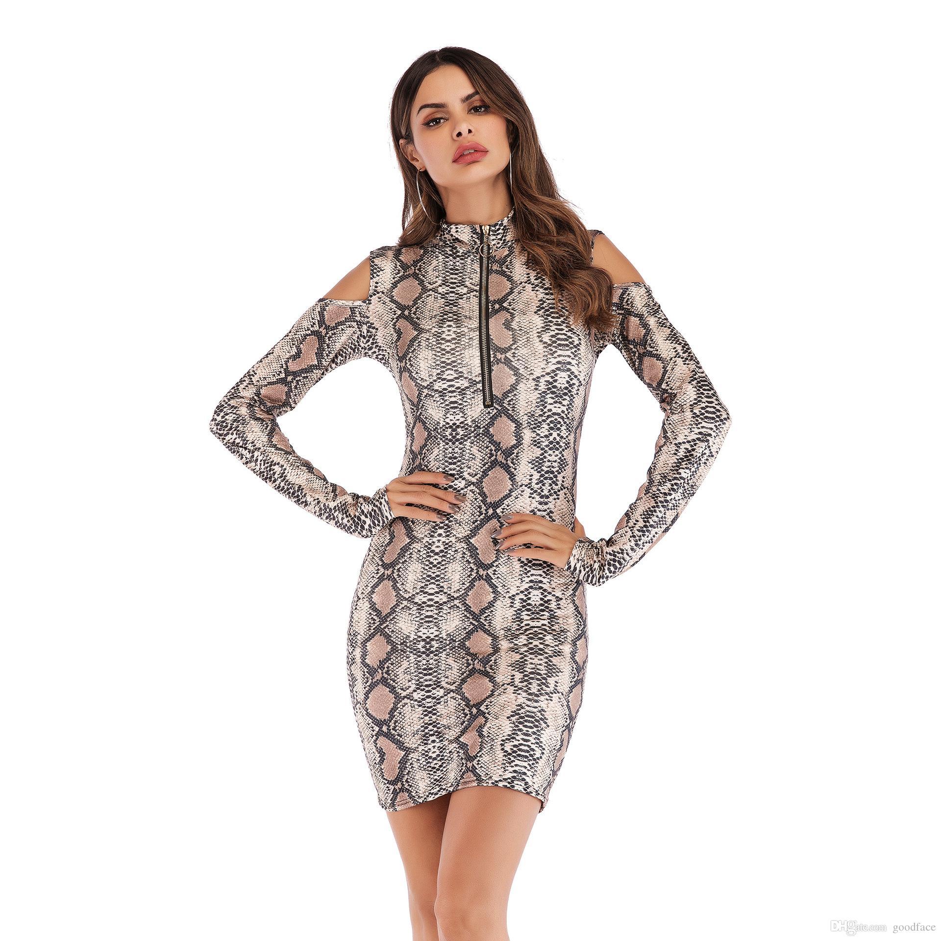 2019 new Fashion Leopard Dresses Zipper Slim Bodycon Dresses Hollow Out on  Shoulders Long Sleeve Women Dress Plus Size