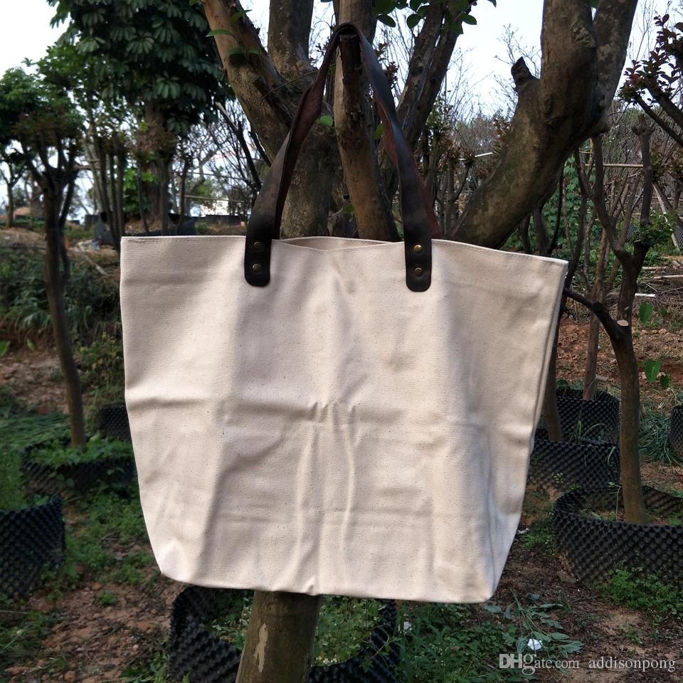 76867b1198f15b 16oz Pure Natural Cotton Canvas Tote Bag with Genuine Leather Handles Thick Cotton  Canvas Large Tote Bag Natural Canvas Weekend Bag Large Cotton Canvas Tote  ...