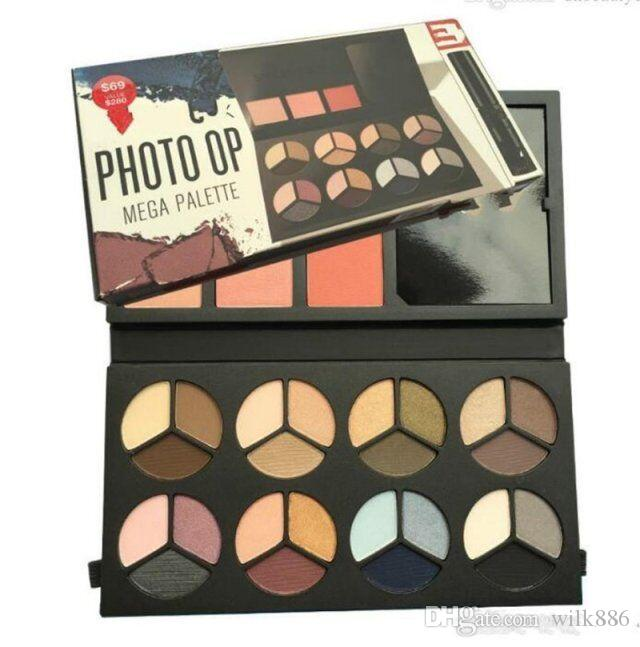 24 colors PHOTO OP Brand Eyeshadow Palette With Mascara 3 Colors Blush Palette Eyeshadow Cosmetic Kit