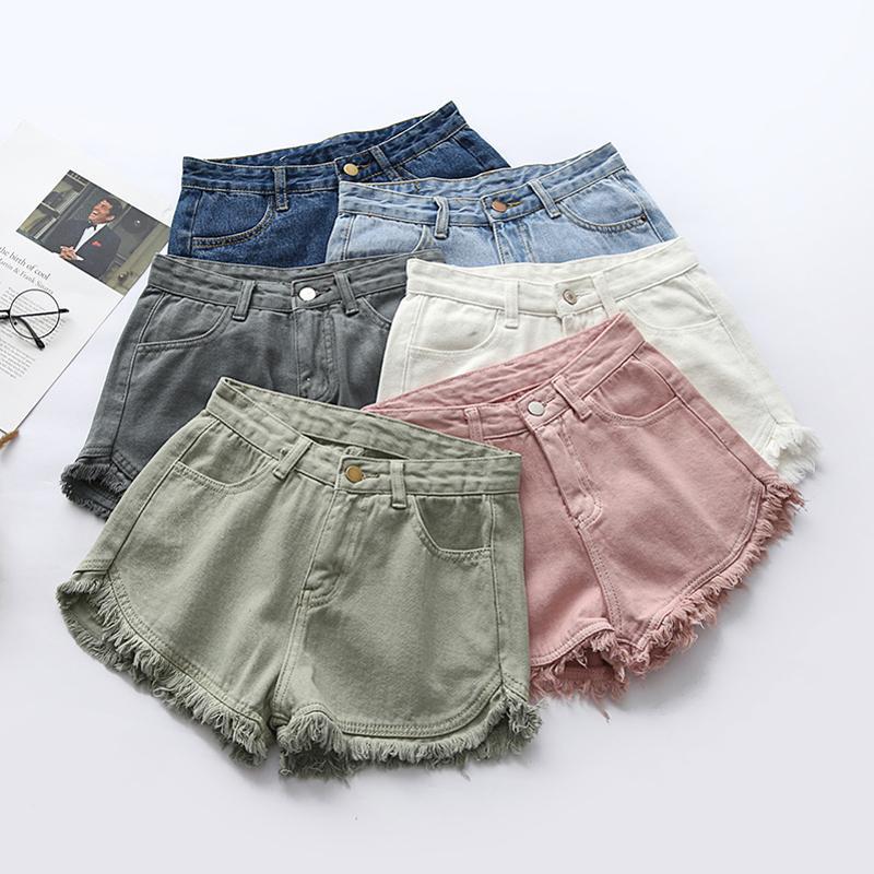 180d1f6f83 2019 Summer Women Colorful Fringe Denim Shorts Cotton High Waist Plus Size  Fashion Shorts SH202 S190423 From Jinmei02, $21.04 | DHgate.Com