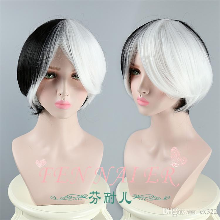 Left black right white two-tone ladies high-grade short straight hair fake hair cosplay Halloween hot wig