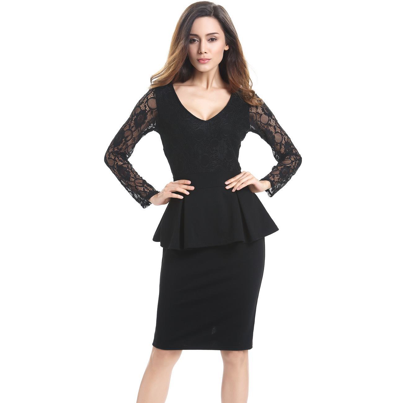 2677737316601 Satın Al Dantel Kalem Elbiseler Kadınlar Uzun Kollu İnce Meslek Çalışma  Elbise Diz Boyu Ofis Kariyer Siyah Elbise, $26.14   DHgate.Com'da